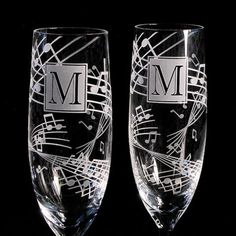 Music Themed Wedding Champagne Flutes, Personalized Music Note Wedding ...