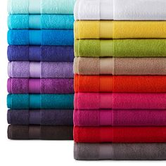 jcpenney.com | JCPenney Home™ Solid Bath Towels- bright yellow, bright orange or lime green