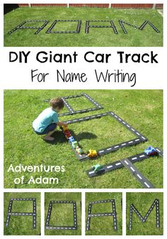 DIY Giant Car Track For Name Writing. Perfect for toddler outdoor play | http://adventuresofadam.co.uk/giant-car-track-name-writing/