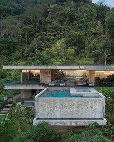 Villa Design, House Design, Custom Home Builders, Custom Homes, Houses In Costa Rica, Jungle House, Modern Architects, Prefabricated Houses, Resort Villa