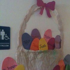 Easter basket bulletin boards pinterest easter baskets and bulletin board idea easter basket with childrens names negle Images