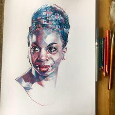 Gorgeous portrait of Nina Simone by Jonathan Edwards @Jontofski