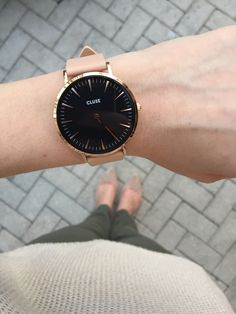 Cluse watch: rose gold and black face with nude leather straps