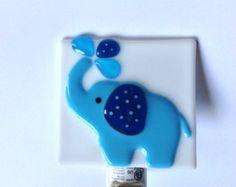 fused glass zebra | Fused Glass Blue Elephant Nursery Night Light