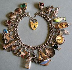 Vintage Antique Sterling 800 Silver Nautical Sea Ocean Charm Bracelet 22 Charms | eBay