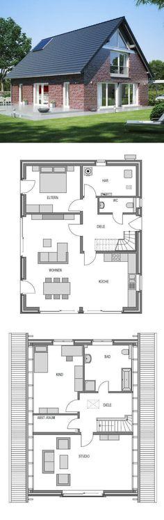 Einfamilienhaus klassisch im Landhausstil mit Klinker Fassade & Satteldach Architektur - Massivhaus bauen Grundriss Haus Klassik 3000.1 Deutsche Bauwelten - HausbauDirekt.de