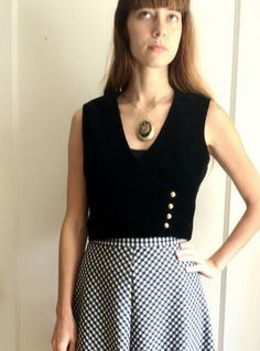 Black Velvet Vest Vintage Gold Buttons by temerson1 on Etsy, $15.00