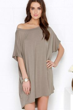 Method to My Grandness Taupe Shirt Dress; with a belt it would be adorable!