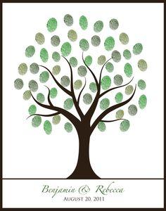 summer spring autumn fall winter wedding 16x20 fingerprint thumbprint guestbook tree printable diy. $14.75, via Etsy.
