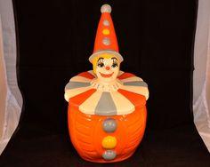 "Maddux California Pottery Orange Clown Cookie Jar 14"" Tall Rare"