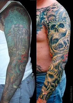 Hyperspace Studios : Tattoos : Coverup : Robert 3 laser sessions and three passes of tattooing Tribal Sleeve Tattoos, Tattoo Sleeve Designs, Skull Tattoos, Body Art Tattoos, Cover Up Tattoos For Men, Tattoos For Guys, Cover Up Tattoos Before And After, Japanese Tattoo Sleeve Samurai, Tribal Cover Up