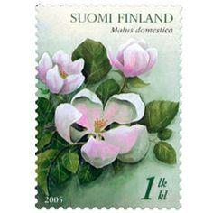 Postimerkki: Omenankukka | Suomen postimerkit Postage Stamp Art, Finland, Bullet Journal, Paper, Beautiful, Postage Stamps, World, Door Bells, Stamps