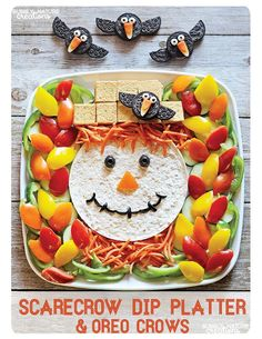 It's Written on the Wall: Fun Scarecrow Dip Platter w/Oreo Crows! Gotta See This!!! Fall/Halloween Foods