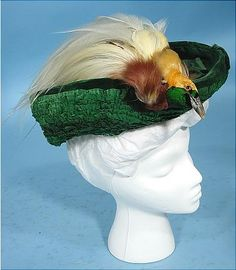 a542ac6e0bb 1904 DOUGLAS Green Taffeta, Chenille and Velvet Hat with Full Bird of  Paradise! Madeleine