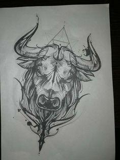 Taurus Bull Tattoos, Bull Skull Tattoos, Zodiac Tattoos, Bull Skulls, Body Art Tattoos, Small Tattoos, Sleeve Tattoos, Tattoos For Guys, Horoscope Tattoos