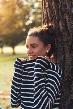 Stripes + pearl earrings + top knot
