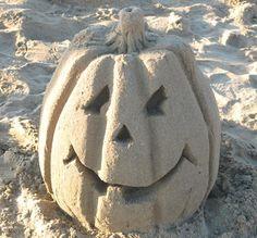 Funny Sand Sculptures... Hello Sand Pumpkin! Featured on BBL: http://beachblissliving.com/amazing-sand-castles-funny-sand-sculptures/
