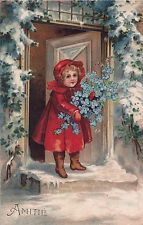 Illustrated Edwardian Christmas Girl with Blue Flowers in Snowy Scene Original