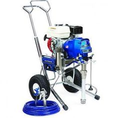 """The Graco 16W865 (Old# 248684) GMax II 3900 Hi-Boy Standard Series Gasoline Airless Sprayer comes complete with the Graco Contractor Spray Gun, RAC-X 517 Switch Tip and Guard and 50'x 1/4"""" BlueMax Airless Hose.With a 120 cc Honda engine and additional features for increased productivity, the GMAX II 3900 can handle up to two guns and is ideal for the professional contractor who sprays a wide variety of coatings.In addition, The Standard Series sprayer comes with these Only On A Graco…"""