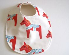 ORGANIC baby bib - Dala horses in red white and blue / eco friendly unisex modern baby shower gift