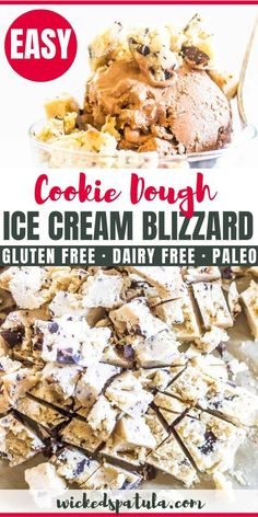 Paleo Cookie Dough Blizzard- This Paleo Cookie Dough Blizzard has a creamy chocolate almond butter ice cream paired with chunks of cookie dough mixed in. Best Gluten Free Recipes, Paleo Recipes Easy, Low Carb Recipes, Diet Recipes, Paleo Meals, Cooking Recipes, Paleo Cookie Dough, Keto Cookies, Keto Friendly Desserts