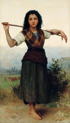 Young peasant woman in tartan. Art by William-Adolphe Bouguereau.