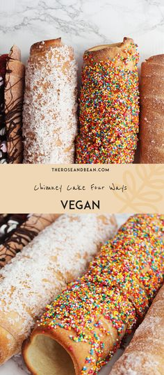 Make your very own epic vegan chimney cake at home, and get creative with the array of different delicious toppings to make it your own Vegan Dessert Recipes, Raw Food Recipes, Sweet Recipes, Cake Recipes, Raw Vegan, Vegan Food, Vegan Gluten Free, Dairy Free, Kurtos Kalacs
