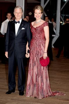 King Philippe and Queen Mathilde at the start of the concert offered by the Belgian King in the Muziekgebouw Aan't IJ Amsterdam on November 29, 2016 in The Hague, Netherlands.