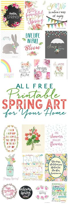 FREE Pretty Spring Printable Art!  Add a touch of spring to your home easily and quickly with these beautiful spring printables! Grab a frame and add a print in less than 5 minutes!