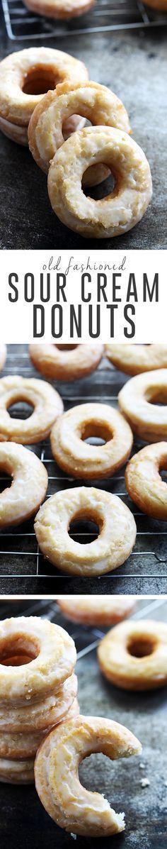 Homemade classic old fashioned sour cream donuts dipped in vanilla glaze. | Creme de la Crumb