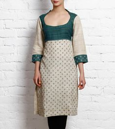 Beige & Green Khadi Silk Kurta