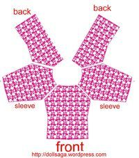 DIY –T Shirt Pattern For Barbie T-shirt Babylone pattern - patron bebe Sewing Barbie Clothes, Barbie Sewing Patterns, Doll Dress Patterns, Crochet Doll Clothes, Sewing Dolls, Clothing Patterns, Shirt Patterns, Accessoires Barbie, Basic Shirts