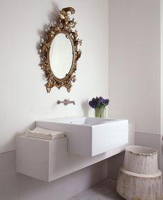 Gold Oval Baroque Mirror in Powder Room, Transitional, Bathroom