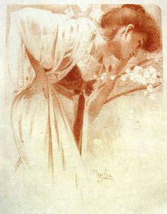Alphonse Mucha 1897 'Melancholy'