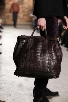 Mens Alligator Bag, by Billy Reid, New York. Men's Fall Winter Fashion.