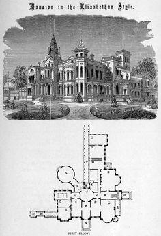 Design for a mansion in Elizabethan style
