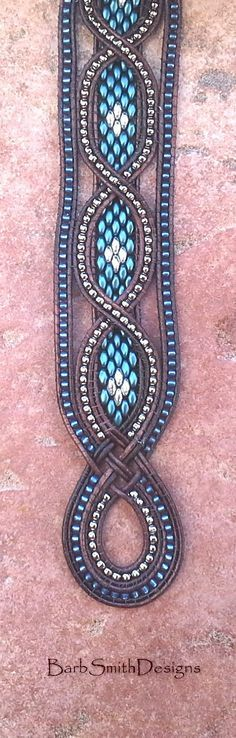Blue Silver Beaded Leather Cuff Wrap Bracelet - The Queen Mother in Petrol Blue
