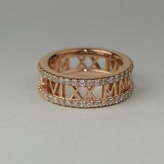 Gold Gold, White Gold, Roman Numeral Ring, Roman Numerals, 14 Carat, Stackable Bands, Cigar Band, Quality Diamonds, 18k Rose Gold