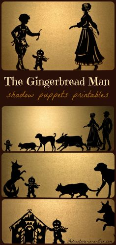 Theater: Gingerbread Man: Christmas shadow puppets play for children (free printable designs included) Shadow Theatre, Traditional Tales, Puppet Show, Shadow Play, Shadow Puppets, Kids Writing, Printable Designs, Free Printables, Christmas Activities