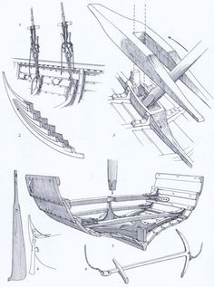 Bow and Stern construction of a clipper ship Ship
