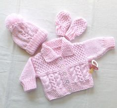Baby layette set, New baby knit set, Baby shower gift