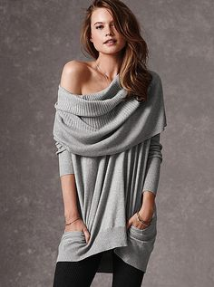 The Multi-way Sweater -- what about this with cute leggings to curl up by the fire; then maybe something sexier underneath for the bedroom?  With a Santa hat. Of course.
