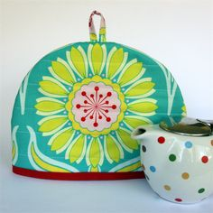 Tea Cosy with matching teapot mat/coaster - Yellow Pop Daisy on Teal | monkey & bee | madeit.com.au