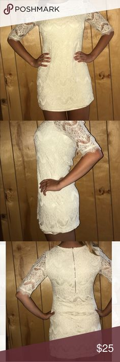 Cream Lace Dress Fitting Lace Dress perfect for semi-formal events, dances, weddings, dinners, etc. Altar'd State Dresses Mini