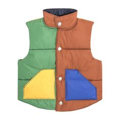 Emery Color Blocked-Puffer Vest, Pink Multi - Outerwear - Maisonette