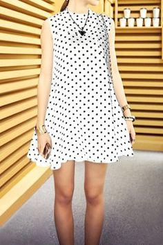 Sweet Jewel Neck Sleeveless Polka Dot Dress For Women