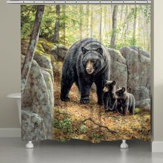 Get inspired by the beauty of wildlife with Laural Home's Black Bear with Cubs Shower Curtain. This digitally printed accent features a vivid scene of a mama bear and her cubs in a lush green forest. Made of easy to care for and durable polyester. Black Bear Decor, Black Forest Decor, Tuscan Decorating, French Country Decorating, Decorating Ideas, Rustic Shower Curtains, Bear Theme, Bear Cubs, Grizzly Bears