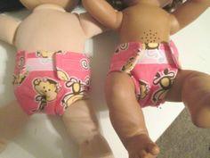 "Pink Monkey Girls--Nana Nappy Doll Diaper Set Fits 14-16"" Doll"