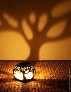 Купить в лесу.аромалампа - свет, деревья, лампа, подсвечник, аромалампа, керамика ручной работы, зеленый