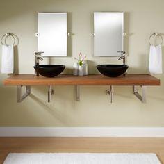 "73"" Teak Wall-Mount Vessel Sink Vanity - Rectangular Brackets - Bathroom"